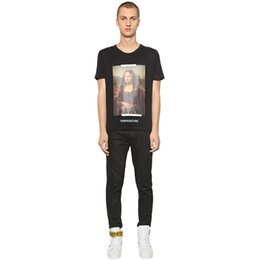 Wholesale Painting Loose - Mona Lisa Character Painting Loose Large Size Hip-Hop Short-Sleeved Shirt Fashion Men And Women Couple High Street HFYTTS012