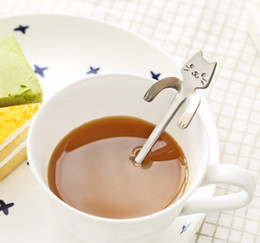 Wholesale Gadget New - New Stainless Steel Coffee & Tea Spoon Mini Cat Long Handle Creative Spoon Drinking Tools Kitchen Gadget Flatware Tableware LLFA