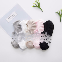 Canada Chaussettes de bateau pour dames Chaussettes de soie transparentes à pois transparents à pois en cristal pour femmes supplier ladies polka dot socks Offre