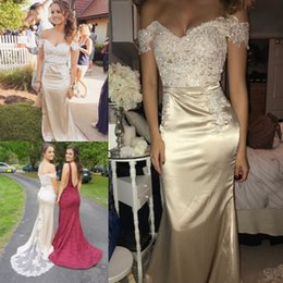 Wholesale Long Western Wedding Dresses - 2018 Champagne Mermaid Bridesmaid Dresses For Western Country Weddings Sexy Off Shoulders Appliques Sequins Long Wedding Guest Dress