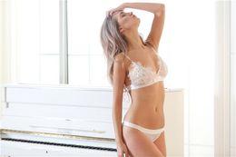 Wholesale Thin Transparent Bra - Sexy super thin lace bra thin transparent sexy underwear set without steel ring sexy gauze bra.