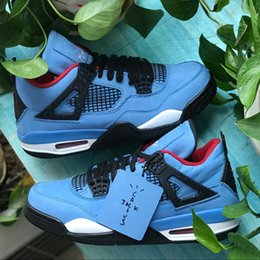 Wholesale men winter jack - Drop Shipping Travis 2018 Scotts x 4 Houston Blue 4S Cactus Jack IV Blue Basketball Shoes Limited Sports Sneakers High Quality 308497-406