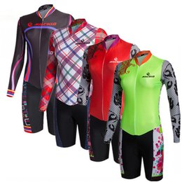 Wholesale green lycra suit - Hot Sale 2018 Cycling Sets Maillot Ropa Ciclismo Long Sleeve Jersey Skinsuit Bike Clothing Triathlon Suit For Women Jumpsuit