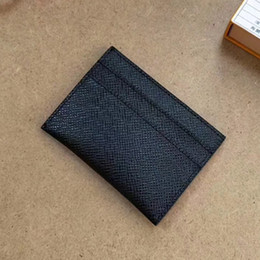 2019 mini caja de caja Excelente estuche para tarjeta Porte Cartes Double Black Eclipse Canvas 62170 Estuche para hombre 61732 calidad de cuero real con estuche BOX dust card mini caja de caja baratos