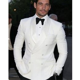 12dc80eee15 Handsome White Double Breasted Herren Hochzeit Kleid Shirt Hosen Design  Herrenanzug 2 Anzughosen Custom Suit 2019 günstige doppelhemdkleider