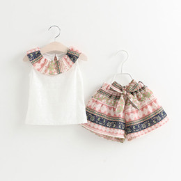 Wholesale wholesale toddler girl tank - Summer Kids Clothing Set Baby Girl Clothes Lace Tank Top + Bowknot Shorts 2pcs Children Clothing Girls Outfits Set Toddler Girls Casual Suit