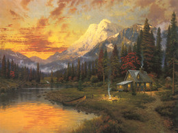 Wholesale Modern Floral Art Paintings - Unframed or Framed Thomas Kinkade Landscape Oil Painting Reproduction High Quality Picture Printed On Canvas Modern Home Art Decor HT347