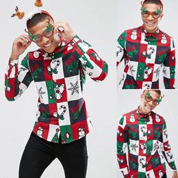 2019 camicia di chrismas BKLD Uomo Camicia 2018 Autunno Nuovo arrivo maschio Maglie a manica lunga Casual Chrismas stampato stile Hip Hop Camicie uomo S-2XL camicia di chrismas economici