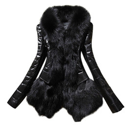 Wholesale Leather Fur Trim - PU Leather Faux Fox Fur Trim Collar Coat Women Winter Thick Warm Slim Jacket Outwear Fashion Plus Size V Neck Overcoat Bontjas