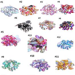Wholesale nails art diamond - 4x8mm Acrylic Flat Back Marquise Earth Facets Clear Crystal AB Acrylic Horse eye Shape Rhinestone Nail art diamond DIY
