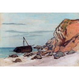 Dipinti ad olio Dipinti ad olio dipinti a mano di Claude Monet Saint-Adresse Dipinto di barche a vela per decorazione murale cheap sailboat oil paintings da pitture a olio a vela fornitori