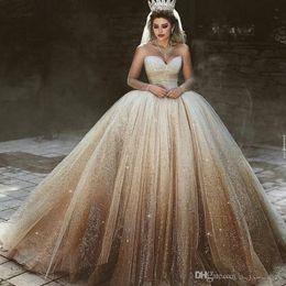 corsés brillantes Rebajas Vestidos de novia de tul con lentejuelas árabes de lujo Sheer Jewel Neck Vestido de novia de manga larga Sparkly Fluffy Corset Vestido de novia Dubai