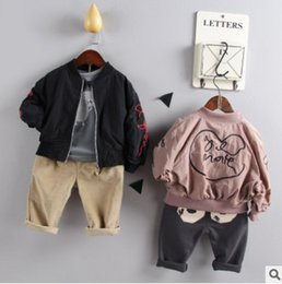Wholesale Baby Baseball Jackets - 2018 New Baby Boys jacket children love heart letter embroidered baseball uniform spring kids round collar zipper casual outwear R2156