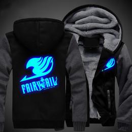 Светящиеся толстовки онлайн-US size Men Women Anime Fairy Tail Logo Cosplay Luminous Jacket Sweatshirts Thicken Hoodie Coat