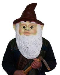 Máscara humana completa online-GNOME Wizard Dwarf Mask Latex Full Head Human Old Mask Disfraz Enano Disfraz de Halloween para Fiesta