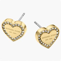Amor corazón diamantes tachuelas online-Luxury Rose Gold Heart stud con diamantes para mujer Logotipo de la marca Top de acero inoxidable Pendientes Love love chica encantadora Pendientes joyería fina