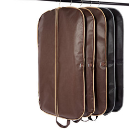 Wholesale garment protector bags - New Coffee Folding Business Suit Coat Clothe Garment Dust Cover Protector Storage Bag