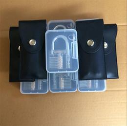 Serrature a taglio online-Trial Order Portable Training Lock Pick Set Attrezzi del fabbro Attrezzi con apribile trasparente apribile Sblocca la resistenza della porta per cadere 26yj jj