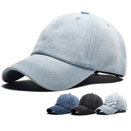 2018 New Denim Ball Caps Moda Unisex Solid Cap regolabile Sunblock Cappelli  per uomini e donne cappucci di personalizzazione 5910dd426a2c
