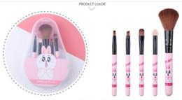 2019 pinceaux de maquillage Brosse de maquillage de dessin animé de vente directe d'usine mis en nouveau portable PINK MAKEUP PINCEAU Beauty Kit 5 pcs livraison gratuite DHL pinceaux de maquillage pas cher