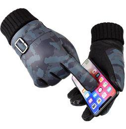 Argentina Hombres guantes de invierno camuflaje pu Pantalla táctil Guante grosor Esquí de invierno Guantes calientes Motocicleta Guantes de conducción LJJK1121 cheap motorcycles gloves Suministro