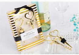 стеклянные декантеры оптом Скидка 2018 Gold Heart Shaped Red Wine Set Винная пробка Штопор приветствует великолепную комбинацию свадебных подарков Party Party