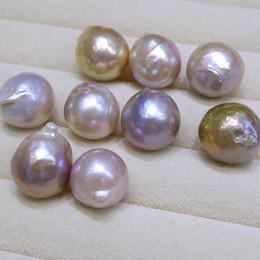 Natürliche barocke perlen großhandel online-Neue DIY Perlen Ungewöhnliche gelb lila Barock Edison Natürliche große Perle 9-12mm lose Perlen der Perlenzusätze en gros Freies Verschiffen