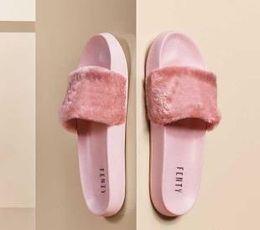 Sandalias de niña de diseñador online-Leadcat Fenty Rihanna Zapatillas de piel sintética Sandalias de las mujeres Sandalias de Moda Negro Rosa Rojo Gris Azul Diseñador Diapositivas de alta calidad
