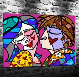 frutas arte abstracta pinturas a óleo Desconto Romero Britto Beijo Feliz, Peças de Lona Decoração de Casa HD Impresso Arte Moderna Pintura sobre Tela (Sem Moldura / Emoldurado)