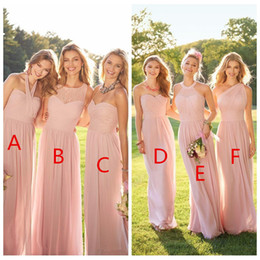 Wholesale one shoulder lace - 2018 Cheap Pink Pleated Long Lace Chiffon Bridesmaid Dresses Mixed Style Blush Bridesmaid Formal Honor Of Maid Ruffles Custom Wear