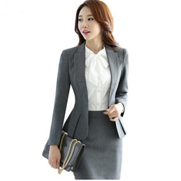 Wholesale Women Working Skirt Suits - 2016 new fashion women suits slim work wear office ladies long sleeve blazer skirt suits costumes for women with skirt