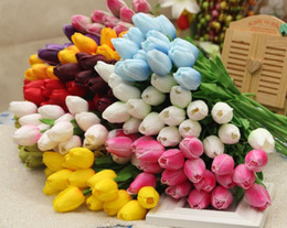 Wholesale Latex Tulips - 50PCS Latex Tulips Artificial PU Flower bouquet Real touch flowers For Home decoration Wedding Decorative Flowers 11 Colors Option