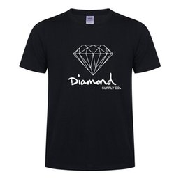 Wholesale Skating Clothes - New Summer Cotton Mens T Shirts Fashion Short-sleeve Printed Diamond Supply Co Male Tops Tees Skate Hip Hop Sport Clothes