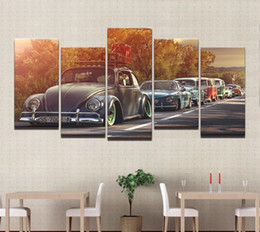 Wholesale Hd Car Pictures - Modern Home Wall Art Decor Frame Pictures HD Prints 5 Pieces Volkswagen Beetle Car Painting On Canvas Retro Sunset Poster