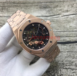 Wholesale Rose Wheels - AAA top quality luxury brand watches men Gold Rose silver through watch royal watch double balance wheel automatic watch mens watches