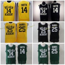 Wholesale L Bel - 14 WILL SMITH Jerseys The Fresh Prince 25 Carlton Banks Jersey OF BEL-AIR Basketball BEL AIR Academy Yellow Shirt Black Green (TV Sitcom)