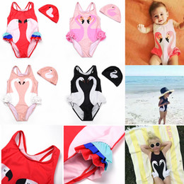 Wholesale 18 month girl swimwear - Girl Bikini INS Flamingo Swimwear Swan Parrot Swimsuits Cartoon Printed Bathing Suits Swimming Caps Kids Beachwear Baby Clothing Sets AAA445
