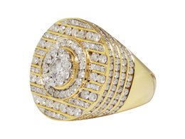 Wholesale Mens 14k White Gold Rings - Mens 14K Yellow Gold Round Cut Channel Set Diamond XL Designer Fashion Ring 8 Ct