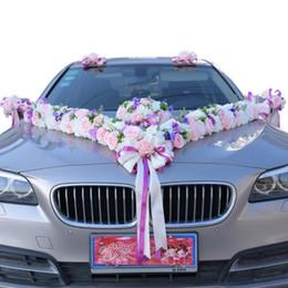 hochzeit auto dekoration gesetzt Rabatt Hochzeitsauto-Blumenhochzeitszubehör der rosafarbenen Hochzeitsauto-Dekoration der künstlichen Blume gesetzt