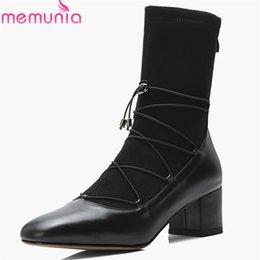 vestire i legami con zip Sconti MEMUNIA 2018 stivali in vera pelle di alta qualità donna croce stivali con zip cerniera tacco quadrato autunno scarpe da donna