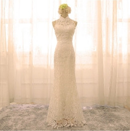 Wholesale Ribbon Palace - Wedding 2017 new bride palace word shoulder waist fish tail was thin small tail forest Evening Slim autumnLace halter fishtail bride white d