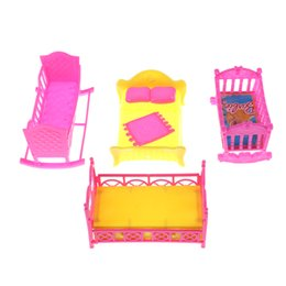 Wholesale Bedding Sets For Girls - Doll Accessories Cute Platic Rocking Cradle Bed Play House Toys For Mini Doll House Furniture For Barbie Kelly Doll One Set