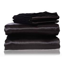 2017 nueva seda hoja plana hoja ajustada fundas de almohada Twin Full Queen King tamaños Nestl juego de cama con Deep Pocket negro desde fabricantes