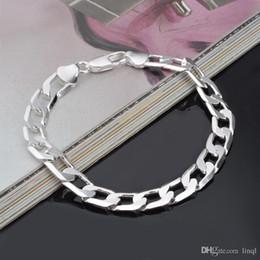 Canada Nouveau Chaude 925 en argent sterling chaîne bracelet 8 MM X21CM cool rue style bijoux de mode cadeaux de Noël bas prix livraison gratuite Offre