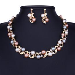 2019 vestidos de oro para niñas Conjuntos de joyas de perlas de diamantes pendientes de collar de cristal de dama vestido de noche novia novia noble joyería dos colores oro y plata vestidos de oro para niñas baratos