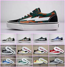 2019 zapatos vulcanizados Venta al por mayor 2018 NUEVA Revenge x Storm Sneakers Pop up Store de primera calidad Old SKool Off Fashion Grid Mens Skateboard Vulcanized Ins zapatos de lona zapatos vulcanizados baratos