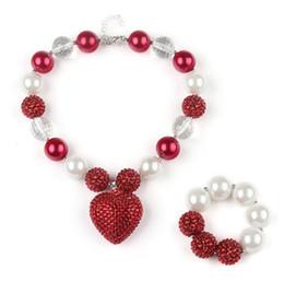 Collar rojo del corazón del rhinestone online-DIY Bubblegum Kids Beads Collares Pulseras Establece Red Heart Charms colgantes con Rhinestone conjunto de joyas para bebés