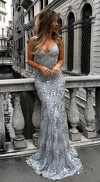 Wholesale Long Sleeves Maxi Dress Petite - 2018 Sexy Graceful V Neck Spahetti Straps Sequins Mermaid Long Prom Dress Silver Backless Evening Dresses Female Maxi Party Dress Cheap