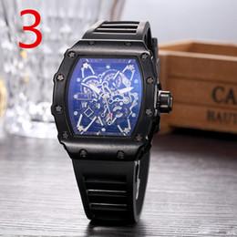 Wholesale mechanical watches skeleton square - 2018 Luxury brand Fashion Skeleton Watches men or women Skull sport quartz watch