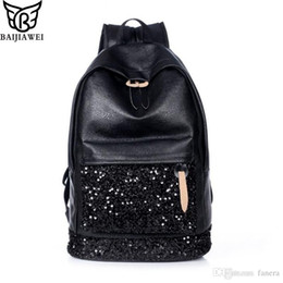 0fd6b97b7403 Wholesale- BAIJIAWEI Fashion Women Backpack Big Crown Embroidered Sequins  Backpack Women Leather Backpacks High Quality Girls School Bags fashion  crown ...